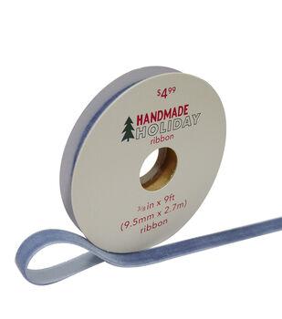 Handmade Holiday Christmas Velvet Ribbon 3/8''x9'-Light Blue