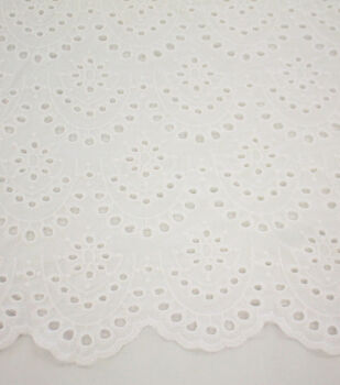 Scallop Cotton Eyelet Fabric-White