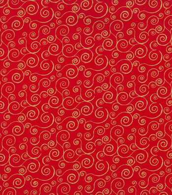 Holiday Cotton Fabric -Glitter Scrolls