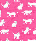 Snuggle Flannel Fabric-Playful Cats on Pink