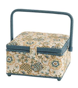 Medium Square Sewing Basket-Cream & Blue