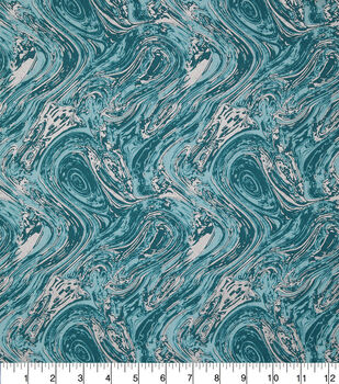 Keepsake Calico Cotton Fabric-Teal Metallic Oil Slick