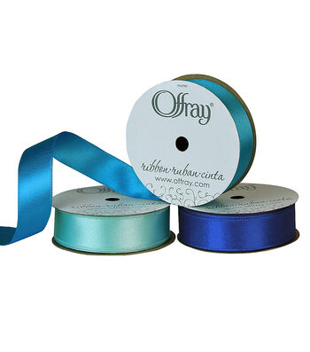 """Offray 7/8""""x9' Chantel Solid Double Faced Satin Wired Edge Ribbon"""