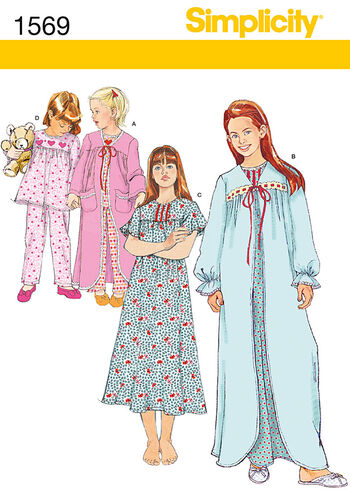 Simplicity Pattern 1569KK 7-8-10-12 -Child Girl Sleepwear