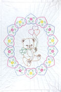 Stamped White Quilt Crib Top 40\u0022X60\u0022-Bear With Balloons