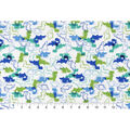 Snuggle Flannel Fabric -Blue Green Dinosaurs