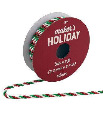 Maker's Holiday Metallic Twist Ribbon 1/6''x9'-Red, Green & White