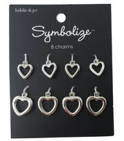 hildie & jo Symbolize 8 Pack Heart Silver Charms, , hi-res