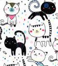 Snuggle Flannel Fabric -Happy Kitties & Fishies