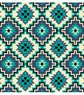 Snuggle Flannel Fabric -Turquoise Cream Aztec