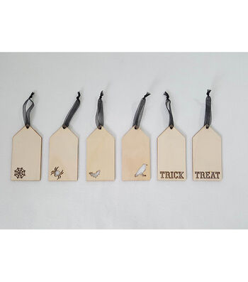 Maker's Halloween Laser Wood 6pc Halloween Icon Tags