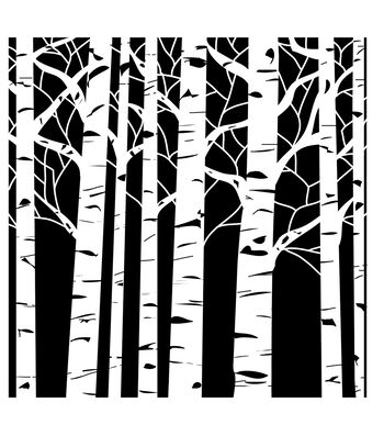 """Crafter's Workshop Template 12""""X12""""-Aspen Trees"""