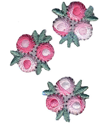 "Wrights Iron-On Appliques-Pink/White Flowers 3/4"" 3/Pkg"