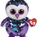 Ty Inc. Flippables Medium Sequin Moonlight Owl-Purple