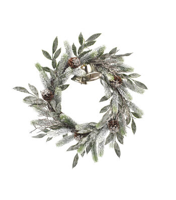Blooming Holiday Christmas 24'' Bell & Frosted Pine Wreath