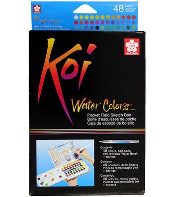 Koi Watercolor Pocket Field Sketch Box-48 Colors-Assorted Colors