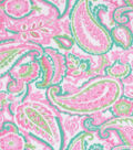Blizzard Fleece Fabric-Pink and Green Paisley