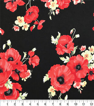 Double Brush Poly Spandex Knit Fabric-Red Poppies