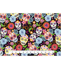 Novelty Cotton Fabric 43\u0027\u0027-Floral & Skulls