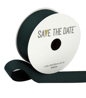 "Save the Date 1.5"" x 30ft Ribbon-Hunter Grosgrain"