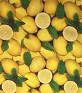 Novelty Cotton Photo Real Fabric 44\u0022-Lemons