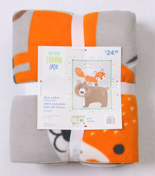 No Sew Fleece Throw Kit 48''-Woodland Creatures