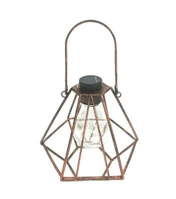 Hello Spring Diamond Cage Solar Hanging Lantern-Bronze