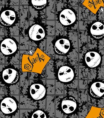 "Nightmare Before Christmas Halloween Cotton Fabric 43""-Jack Head Toss"