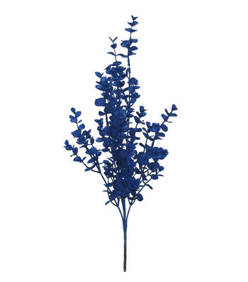 Blooming Holiday Christmas Glitter Eucalyptus Bush-Blue