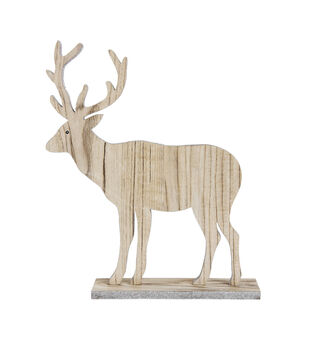 Christmas Wood Deer with Glitter