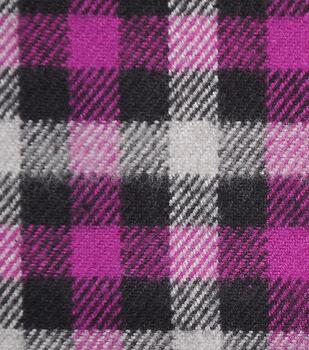 Plaiditudes Brushed Cotton Fabric-Purple, Gray & Black Checks