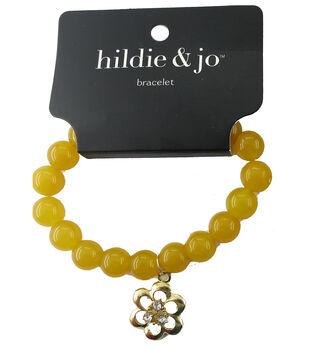 hildie & jo Beads Stretch Bracelet-Yellow with Gold Flower Charm