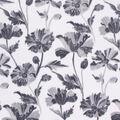 Anti-Pill Plush Fleece Fabric-Gray Floral on White