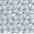 Premium Prints Cotton Fabric-Blue Birds on Gray