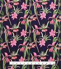 Silky Stretch Chiffon Fabric-Black Tropical Stem Floral