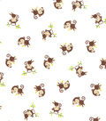 Snuggle Flannel Fabric -Playful Monkey