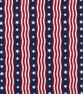 Patriotic Cotton Fabric -Waving Stars on Stripes