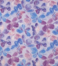 Anti-Pill Plush Fleece Fabric-Watercolor Butterfly Purple Sketched