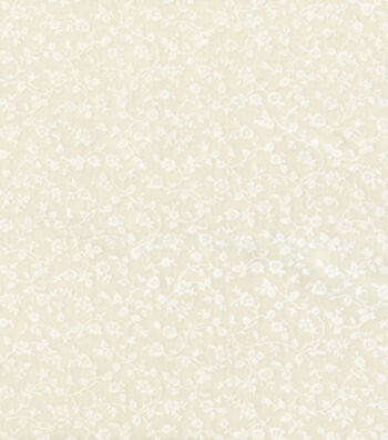 "Keepsake Calico Cotton Fabric 44""-White Vine on Muslin"