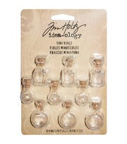 Tim Holtz Idea-Ology Tiny Corked Glass Vials 9/Pkg-Assorted Clear Shapes, , hi-res