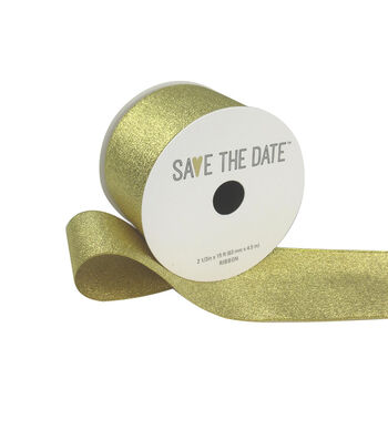 "Save the Date 2.5"" x 15ft Ribbon-Gold Metallic"
