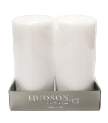 "Hudson 43 Candle & Light Collection 2pc 3""X6"" Unscented Pillar Candles-White"