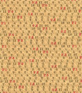 Novelty Cotton Fabric-Measuring Tape Tan