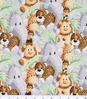 Jungle Babies Nursery Cotton Fabric -Animals, , hi-res