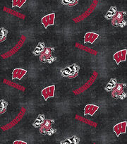 """University of Wisconsin Badgers Flannel Fabric 42""""-Distressed Logo, , hi-res"""