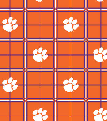 "Clemson University Tigers Flannel Fabric 42""-Plaid"