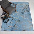 Ruggable Washable 5x7\u0027 Area Rug-Ironwork Swirls Slate Blue