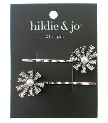 hildie & jo 2 Pack Silver Hair Pins-Pearl & Clear Crystals Flower