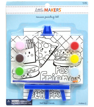 Little Makers 2Pk 4X6 Canvas Easel Kit-Food