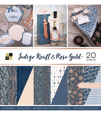 DCWV Premium Stack Printed & Kraft Cardstock-Indigo Kraft & Rose Gold